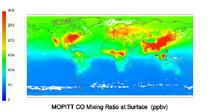 Satellite computer image of carbon monoxide - March 2010.